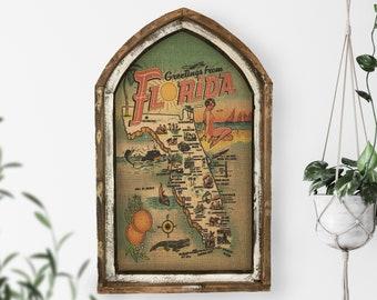 "Florida Map Wall Art | 18"" x 30"" | Arch Window Frame | Burlap Wall Hanging | Coastal Decor |"