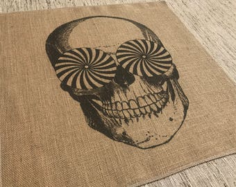 Skull Burlap Panel, Halloween Printed Fabric