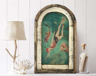 "Swimming Wall Art | 14"" x 22"" | Arch Window Frame | Linen Wall Hanging | Coastal Decor |"
