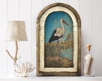 "Heron Wall Art | 14"" x 22"" | Arch Window Frame | Linen Wall Hanging | Coastal Decor |"
