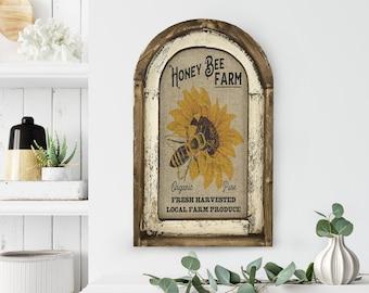 "Honey Bee Wall Art | 14"" x 22"" | Arch Window Frame | Linen Wall Hanging | Rustic Farmhouse Decor |"