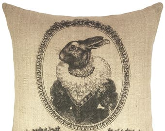 French Grainsack Throw Pillow, Bunny Burlap Pillow