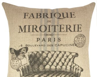 French Grain Sack Throw Pillow, Paris Burlap Pillow, Farmhouse Accent