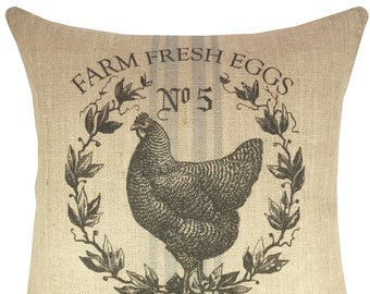 Chicken Grainsack Throw Pillow, Farm Fresh Milk Burlap Pillow, Farmhouse Accent