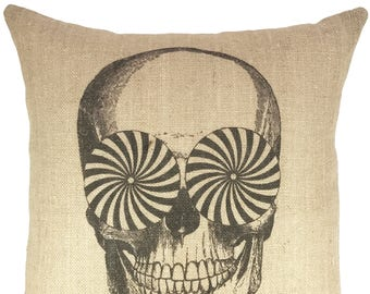Skull Throw Pillow, Hypnotic Burlap Pillow, Halloween Decoration