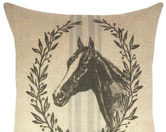 Horse Throw Pillow, Grain Sack Burlap Pillow, Farmhouse Accent