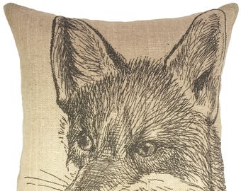 Fox Throw Pillow, Farmhouse Burlap Pillow, Farmhouse Accent