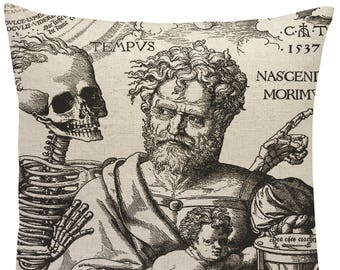 Life and Death Linen Pillow, Skeleton Throw Pillow