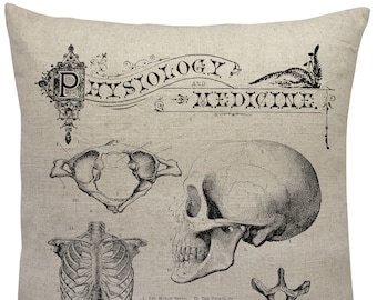 Skull Linen Pillow, Natural History Throw Pillow, Medicine