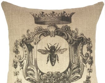 French Bee Throw Pillow, Crown Burlap Pillow, Cottage Accent