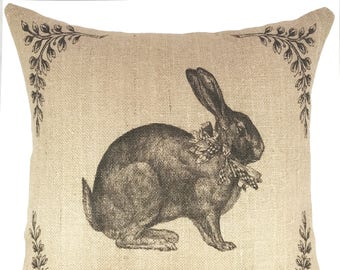Bunny Throw Pillow, Farmhouse Burlap Pillow, Cottage Accent