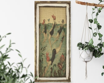 "Swimming Wall Art | 16"" x 36"" | Window Frame | Burlap Wall Hanging | Farmhouse Decor |"
