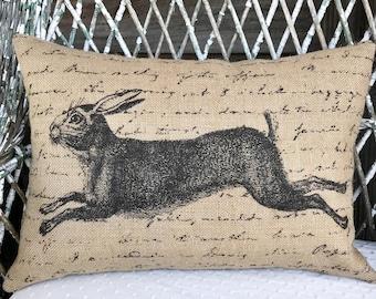 Rabbit Burlap Pillow, Grainsack Lumbar Pillow, Country Farmhouse, 18x12