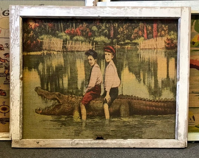 "Featured listing image: Boys on Alligator Wall Art | Antique Window Frame Decor | Burlap Wall Hanging | Rustic Decor | 34.5"" x 27"""