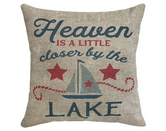 "Lake House Linen Throw Pillow 15"" x 15"""