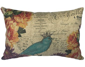 French Blue Bird Throw Pillow, Rustic Linen Lumbar Pillow, Cottage