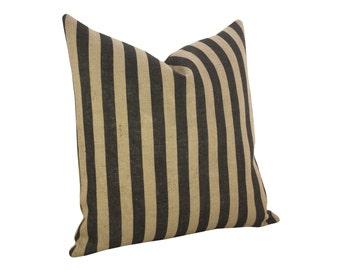 Small Stripes Burlap Pillow, Industrial Decor, Black
