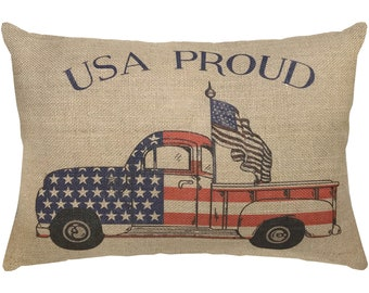 Patriotic Truck Burlap Pillow, USA Proud Lumbar Pillow, American Flag, 18x12