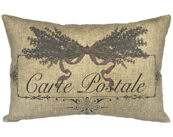 Lavender Carte Postale Throw Pillow, Linen Lumbar Pillow, Cottage