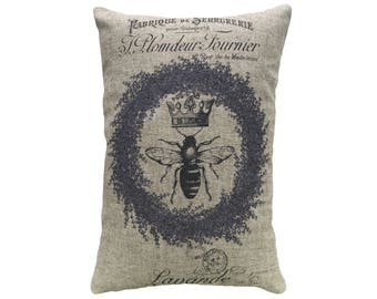 Bee Throw Pillow, Linen Lumbar Pillow, Lavender
