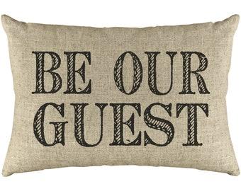 Be Our Guest Throw Pillow, Shabby Chic Linen Lumbar Pillow