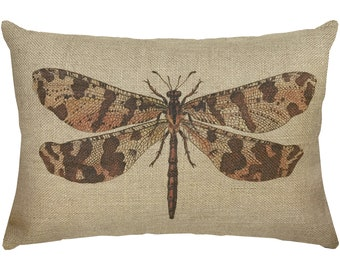 Dragonfly Burlap Pillow, Rustic Lumbar Pillow, Country Farmhouse, 18x12