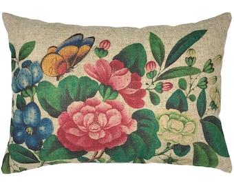 Floral Butterfly Throw Pillow, Modern Farmhouse Linen Lumbar Pillow