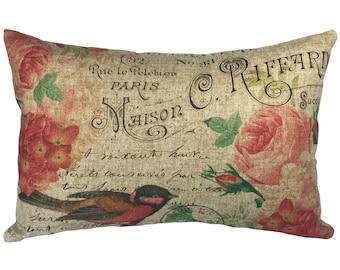 French Birds Throw Pillow, Rustic Linen Lumbar Pillow, Cottage