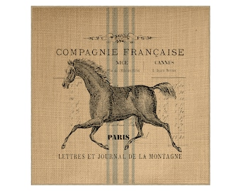 CUSTOM - Horse Grainsack Burlap Panel