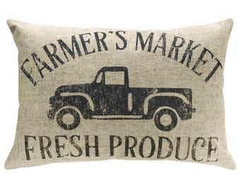 Farmers Market Typography Throw Pillow, Linen Lumbar Pillow