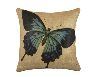 Burlap Butterfly Pillow, Decorative Throw Pillow, Blue Butterfly Cushion, Jute, Spring