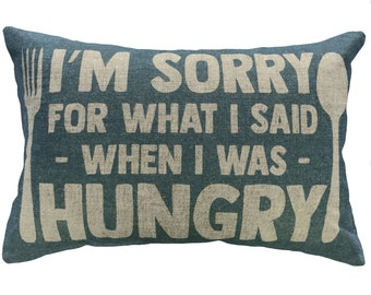Hungry Throw Pillow, Blue Typography, Linen Lumbar Pillow