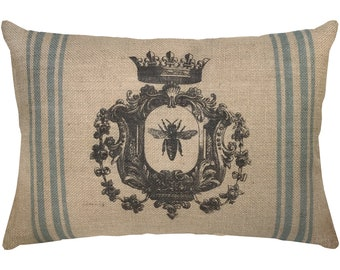 Bee Burlap Pillow, Grainsack Lumbar Pillow, French Farmhouse, 18x12