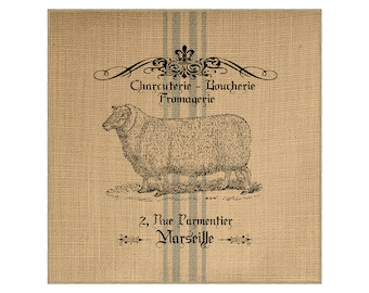 Sheep Grainsack Burlap Panel, Reproduction Printed Fabric