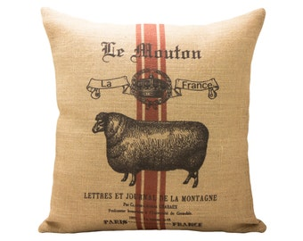 Sheep Pillow, French Farmhouse Throw Pillow, Shabby Cottage
