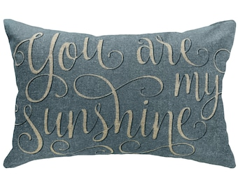 You Are My Sunshine Throw Pillow, Blue Typography, Linen Lumbar Pillow