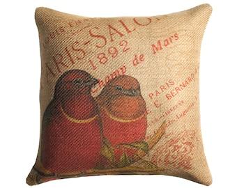 Burlap Pillow of Red Birds, French Throw Pillow, Cushion, Paris