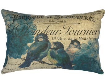 Blue Birds Throw Pillow, Rustic Linen Lumbar Pillow, French