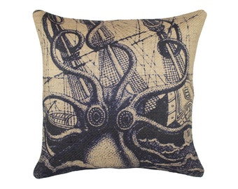 Burlap Nautical Pillow, Navy Octopus with Ship Cushion, Coastal, Jute