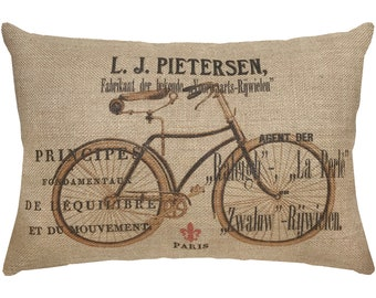 French Bike Burlap Pillow, French Lumbar Pillow, Country Farmhouse, 18x12