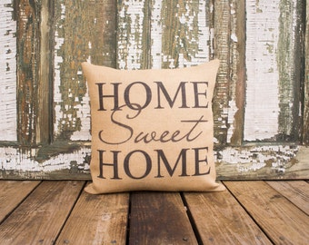 Home Sweet Home Pillow, Burlap Throw Pillow, Family Room