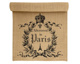 Burlap Table Runner, Paris Burlap Runner, French Table Linens, TheWatsonShop