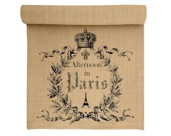Burlap Table Runner, Paris Burlap Runner, French Table Linens, TheWatsonShop