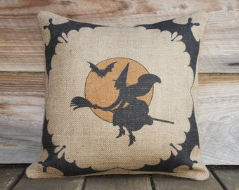 Primitive Halloween Pillow Cover, Witch Bats and Moon, Spooky Decoration, Porch, Moon, Trick or Treat, Party Decor, 16x16