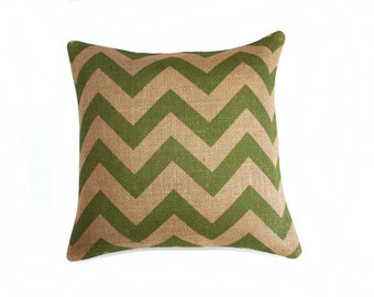 Green Chevron Throw Pillow, Cottage Chic, Burlap, Feed Sack, Industrial, Decorative, Zig Zag, Designer Pillow