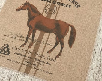 Horse Burlap Panel, Grainsack Printed Fabric