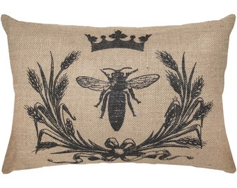 Bee Burlap Pillow, French Lumbar Pillow, French Farmhouse, 18x12