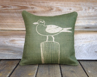 Seagull Pillow, Bird, Moss Green, Beige, Burlap Throw Pillow, Decorative Pillow, Cottage Chic, Rustic, Farmhouse