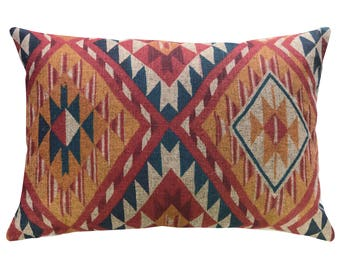Aztec Throw Pillow, Linen Lumbar Pillow, Worldly