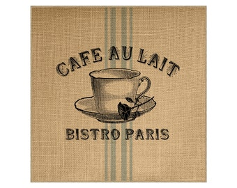 Cafe Grainsack Burlap Panel, Reproduction Printed Fabric